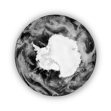 background antarctica: Antarctica on dark planet Earth isolated on white background. Highly detailed planet surface. Elements of this image furnished by NASA. Stock Photo