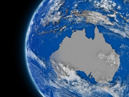 mapas conceptuales: Ilustración del continente australiano en el globo político con características atmosféricas y las nubes