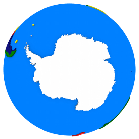 Political map of Antarctica on globe, illustration isolated on white background