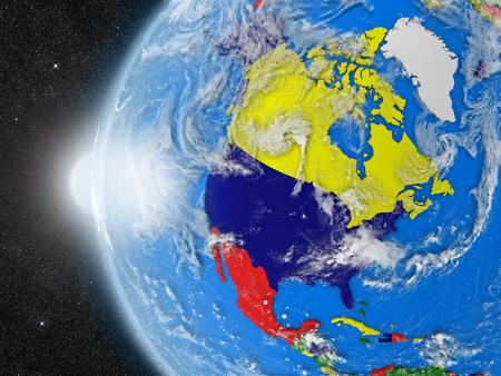 continente americano: Concepto del planeta Tierra vista desde el espacio, pero con las fronteras políticas encaminadas a continente norteamericano