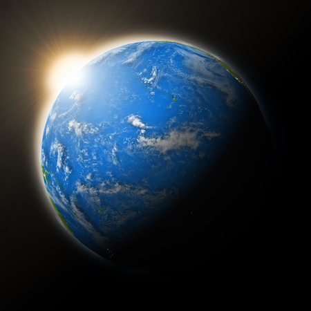 pacific ocean: Sun over Pacific Ocean on blue planet Earth isolated on black background. Highly detailed planet surface.