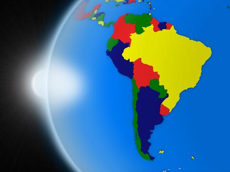 continente americano: Puesta de sol sobre el planeta Tierra como si se ve desde el espacio, pero con las fronteras políticas destinadas a continente sudamericano