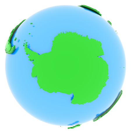 antarctic: Antarctic, political map of the world in different shades of green.