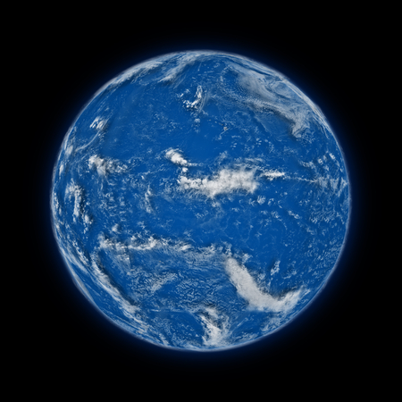 pacific ocean: Pacific Ocean on blue planet Earth isolated on black background. Highly detailed planet surface.