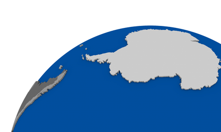 antarctica: Political map of Antarctica on globe Stock Photo