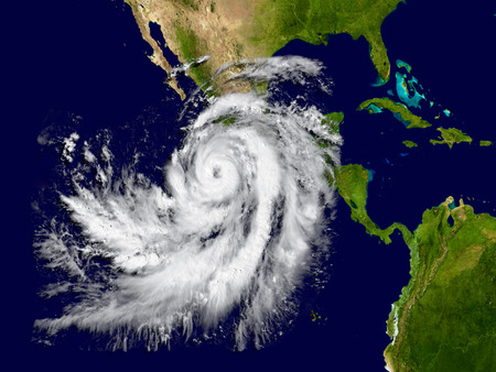 hurricane weather: Illustration of hurricane Patricia over the Pacific approaching Mexico. Elements of this image furnished by NASA