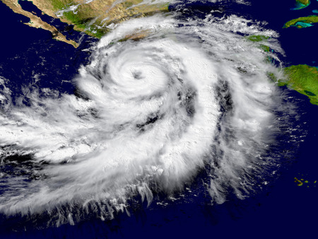 hurricane: Illustration of hurricane Patricia over the Pacific approaching Mexico. Elements of this image furnished by NASA