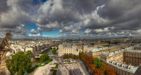 notre dame cathedral: Picturesque view of Paris cityscape from the towers of Notre Dame cathedral