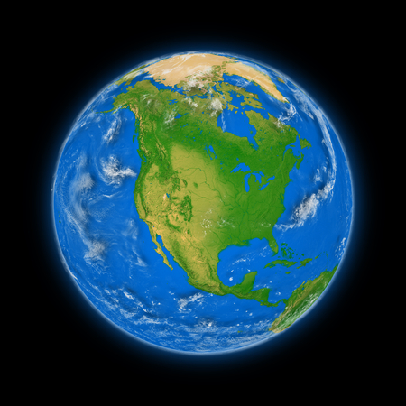 north america: North America on blue planet Earth isolated on black background. Highly detailed planet surface.