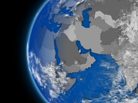 Illustration of middle east region on political globe with atmospheric features and clouds