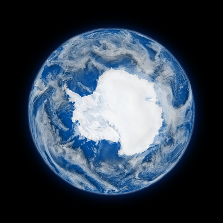 background antarctica: Antarctica on blue planet Earth isolated on black background. Highly detailed planet surface.