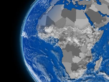 conceptual maps: Ilustración del continente africano en el globo político con características atmosféricas y las nubes