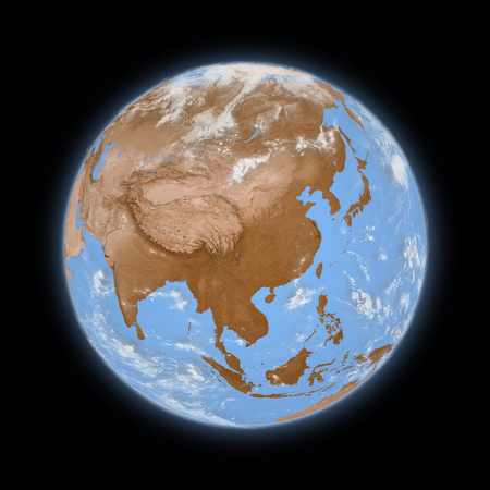 southeast: Southeast Asia on blue planet Earth isolated on black background. Highly detailed planet surface. Stock Photo