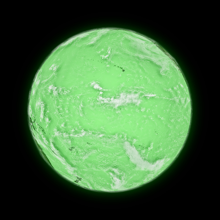 pacific ocean: Pacific Ocean on green planet Earth isolated on black background. Highly detailed planet surface.