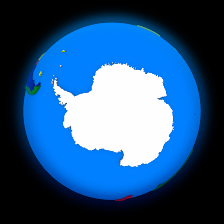 antarctic: Antarctica on political globe on black background Stock Photo