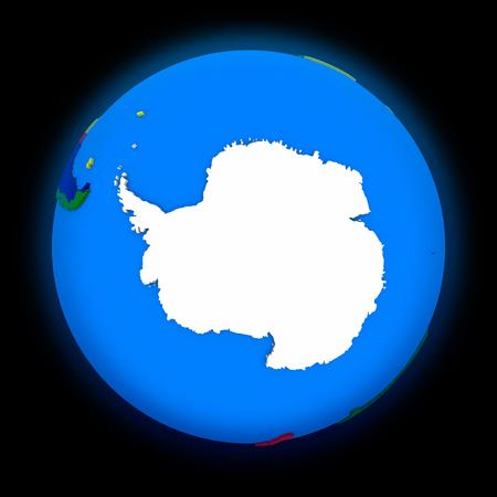 antarctica: Antarctica on political globe on black background Stock Photo