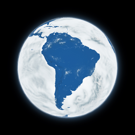 south america: South America on blue planet Earth isolated on black background. Highly detailed planet surface.