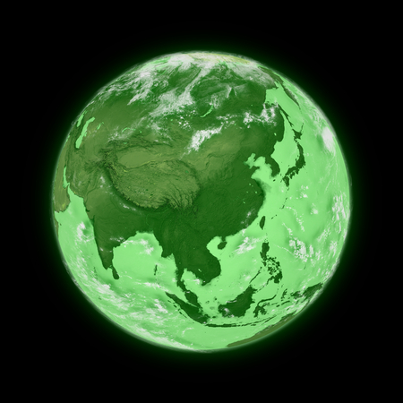 himalayas: Southeast Asia on green planet Earth isolated on black background. Highly detailed planet surface.