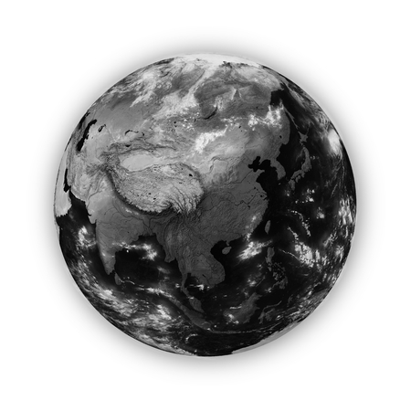 southeast asia: Southeast Asia on dark planet Earth isolated on white background. Highly detailed planet surface.