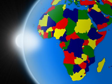 Puesta de sol sobre el planeta Tierra como si se ve desde el espacio, pero con las fronteras políticas destinadas a continente africano