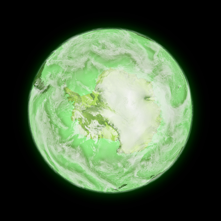 background antarctica: Antarctica on green planet Earth isolated on black background. Highly detailed planet surface.
