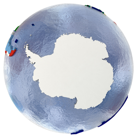 antarctic: Political map of Antarctica with each country represented by its national flag. Isolated on white background.