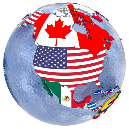 Political map of north America with each country represented by its national flag. Isolated on white background.