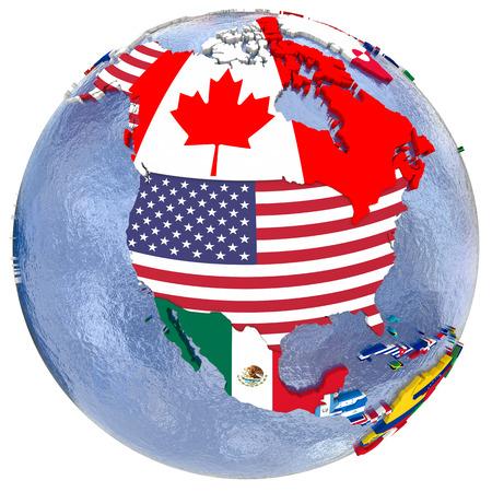 Mapa político de América del Norte con cada país representado por su bandera nacional. Aislado en el fondo blanco.