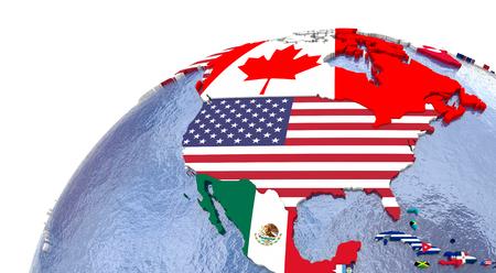 그 국기로 표시되는 각 국가와 북미의 정치지도.