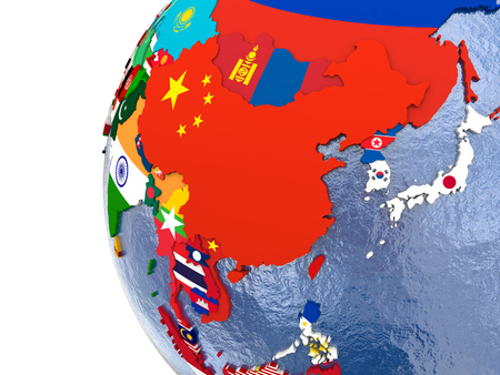 east asia: Political map of east Asia with each country represented by its national flag. Stock Photo