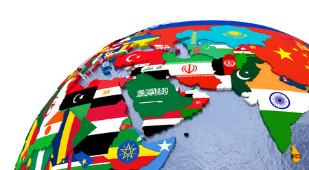middle east map: Political map of Middle East with each country represented by its national flag. Stock Photo