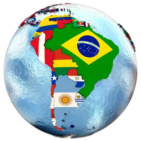 banderas america: Mapa político de América del Sur con cada país representado por su bandera nacional. Aislado en el fondo blanco.