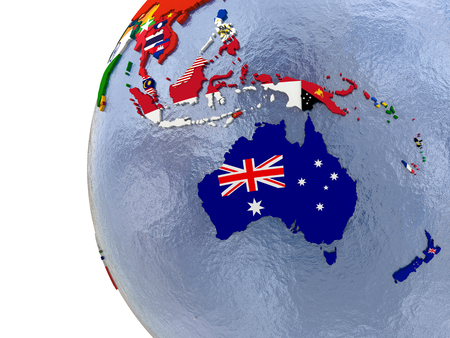 australasia: Political map of Australasia with each country represented by its national flag.