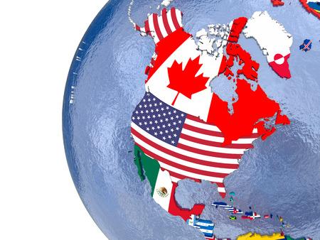 Mapa político de América del Norte con cada país representado por su bandera nacional.
