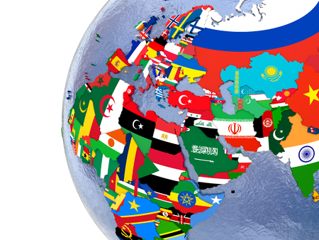 region: Political map of EMEA region with each country represented by its national flag. Stock Photo