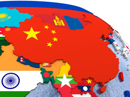 diplomatic: China - political map of China and surrounding region with each country represented by its national flag.