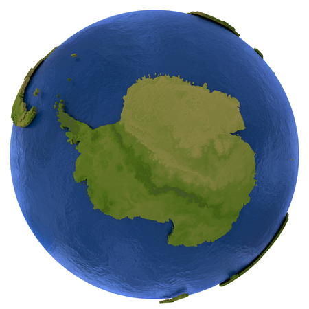 background antarctica: Antarctica on detailed model of planet Earth with visible country borders on green land and waves on the ocean waters. Illustration isolated on white background.