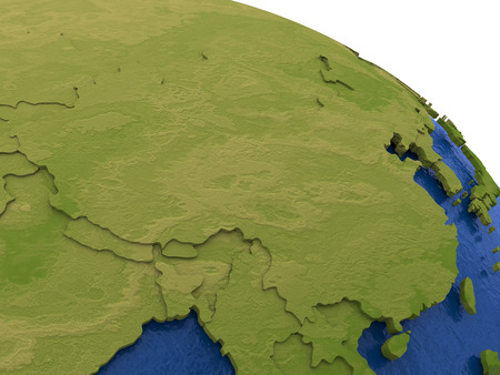 water's: China on detailed model of planet Earth with visible country borders on green land and waves on the ocean waters.