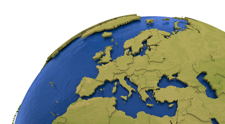 visible: Europe on detailed model of planet Earth with visible country borders on green land and waves on the ocean waters.