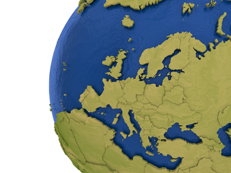 water's: Europe on detailed model of planet Earth with visible country borders on green land and waves on the ocean waters.