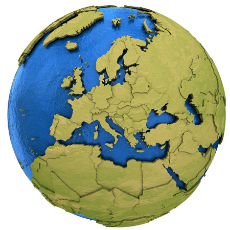 water's: Europe on detailed model of planet Earth with visible country borders on green land and waves on the ocean waters. Illustration isolated on white background. Stock Photo