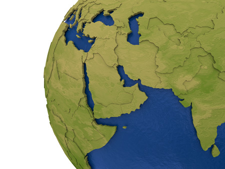 middle east: Middle East region on detailed model of planet Earth with visible country borders on green land and waves on the ocean waters.