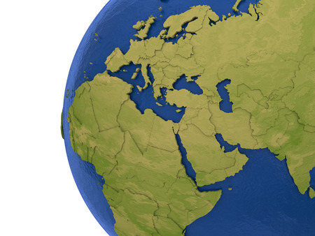 middle east: Europe, Middle East and Africa - EMEA region - on detailed model of planet Earth with visible country borders on green land and waves on the ocean waters.