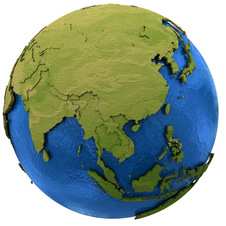 earth map: Asia on detailed model of planet Earth with visible country borders on green land and waves on the ocean waters. Illustration isolated on white background.