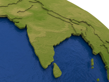 regions: India on detailed model of planet Earth with visible country borders on green land and waves on the ocean waters. Stock Photo