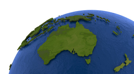 water's: Australia on detailed model of planet Earth with visible country borders on green land and waves on the ocean waters. Stock Photo
