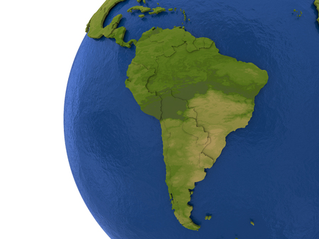water's: South America on detailed model of planet Earth with visible country borders on green land and waves on the ocean waters. Stock Photo