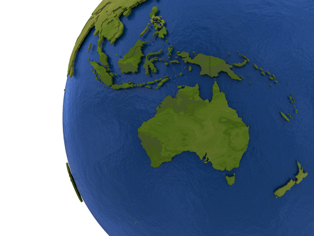 australasia: Australasia on detailed model of planet Earth with visible country borders on green land and waves on the ocean waters. Stock Photo