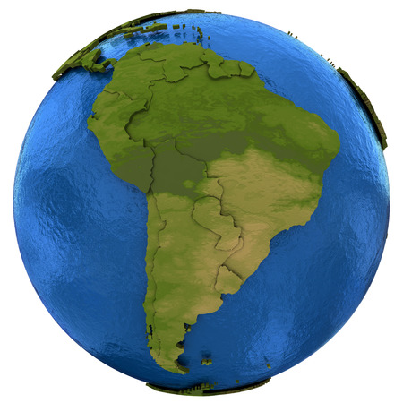 water's: South America on detailed model of planet Earth with visible country borders on green land and waves on the ocean waters. Illustration isolated on white background.