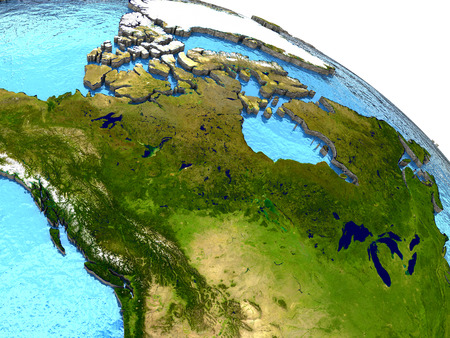 water's: Canada region on detailed model of planet Earth with continents lifted above blue ocean waters. Elements of this image furnished by NASA.